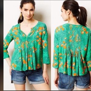 Anthro Vanessa Virginia Mahdia Floral Green Top
